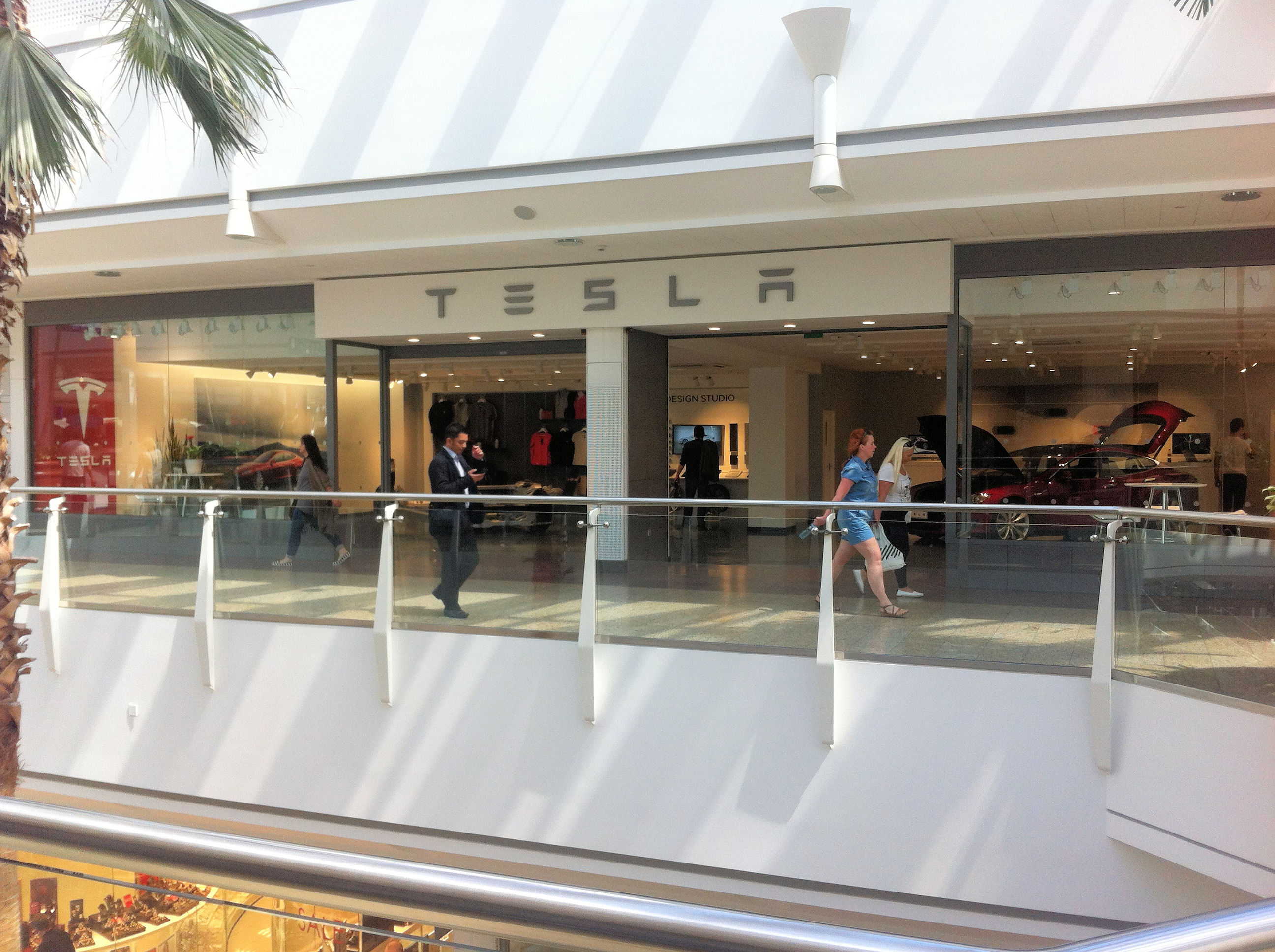 The TESLA showroom on the first floor at Cribbs Causeway shopping mall north of Bristol